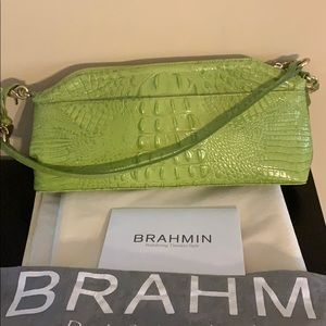Brahmin lime green clutch or shoulder bag mint